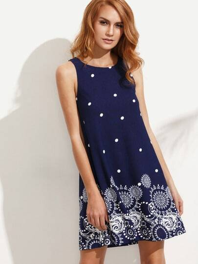 Multicolor Print Polka Dot Sleeveless A-line Dress