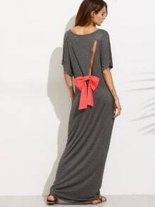 Grey Bow Cutout Back Dolman Sleeve Maxi Dress