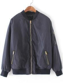 Navy Crew Neck Zipper Front Jacket