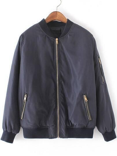 Navy Crew Neck Zipper Front Jacket