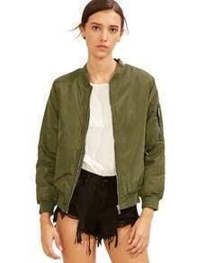 Army Green Crew Neck Zipper Front Jacket