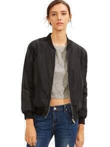 Black Crew Neck Zipper Front Jacket