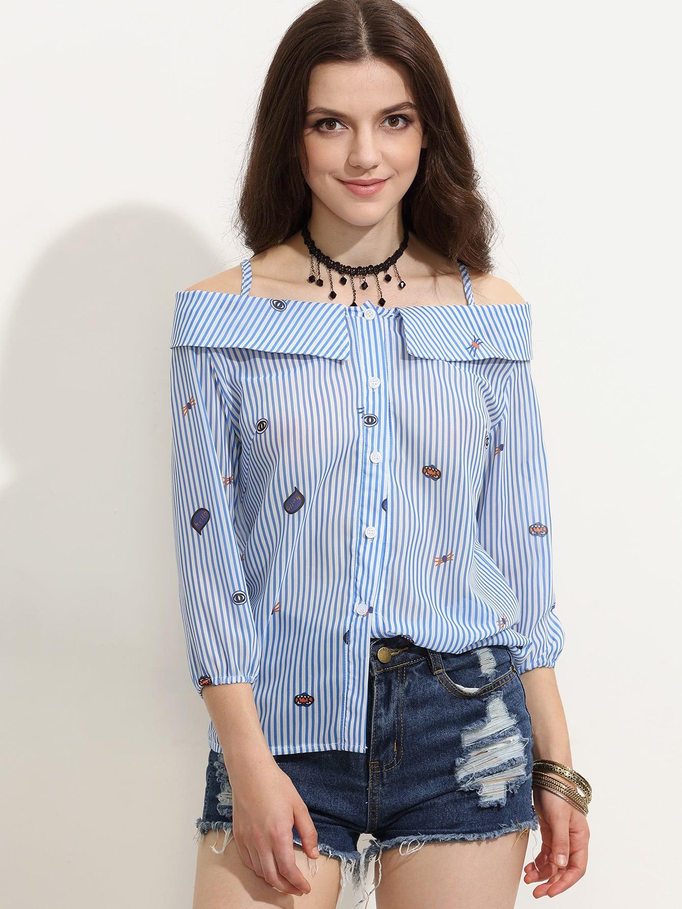 Blue Striped Cartoon Print Cold Shoulder Fold Over Blouse blouse160713304