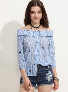 gestreifte Bluse Cut-outs am Schulter - blau