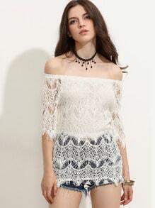 White Crochet Hollow Out Off The Shoulder Eyelash Lace Blouse