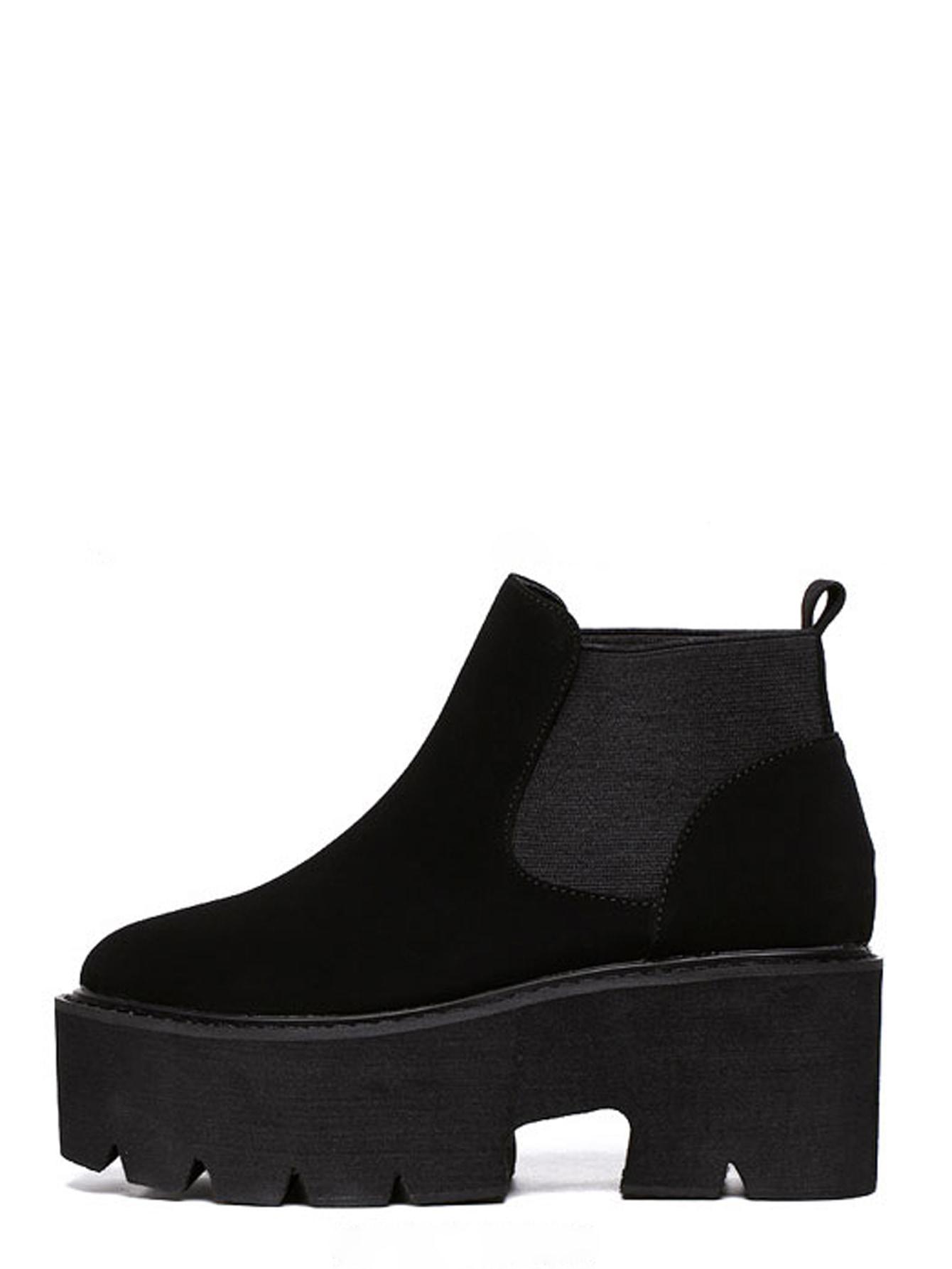 Black Round Toe Platform Chunky Ankle BootsBlack Round Toe Platform Chunky Ankle Boots<br><br>color: Black<br>size: EUR36,EUR37,EUR38,EUR39