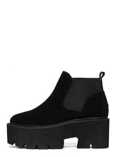 Black Round Toe Platform Chunky Ankle Boots