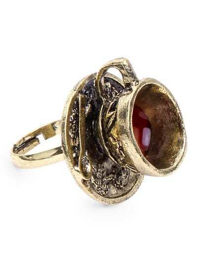Antique Brass Coffee Cup Spoon Shaped Ring