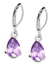 Purple Zircon Drop Earrings