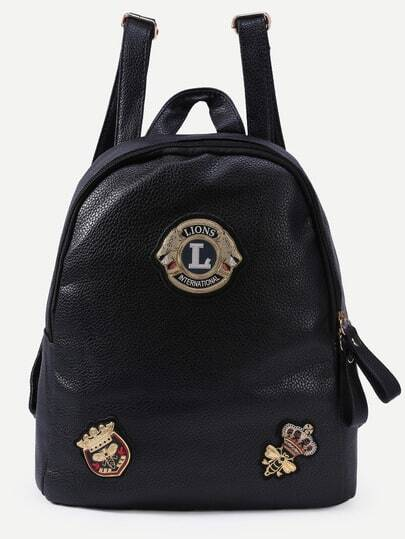 Black Pebbled Faux Leather Badge Patch Backpack