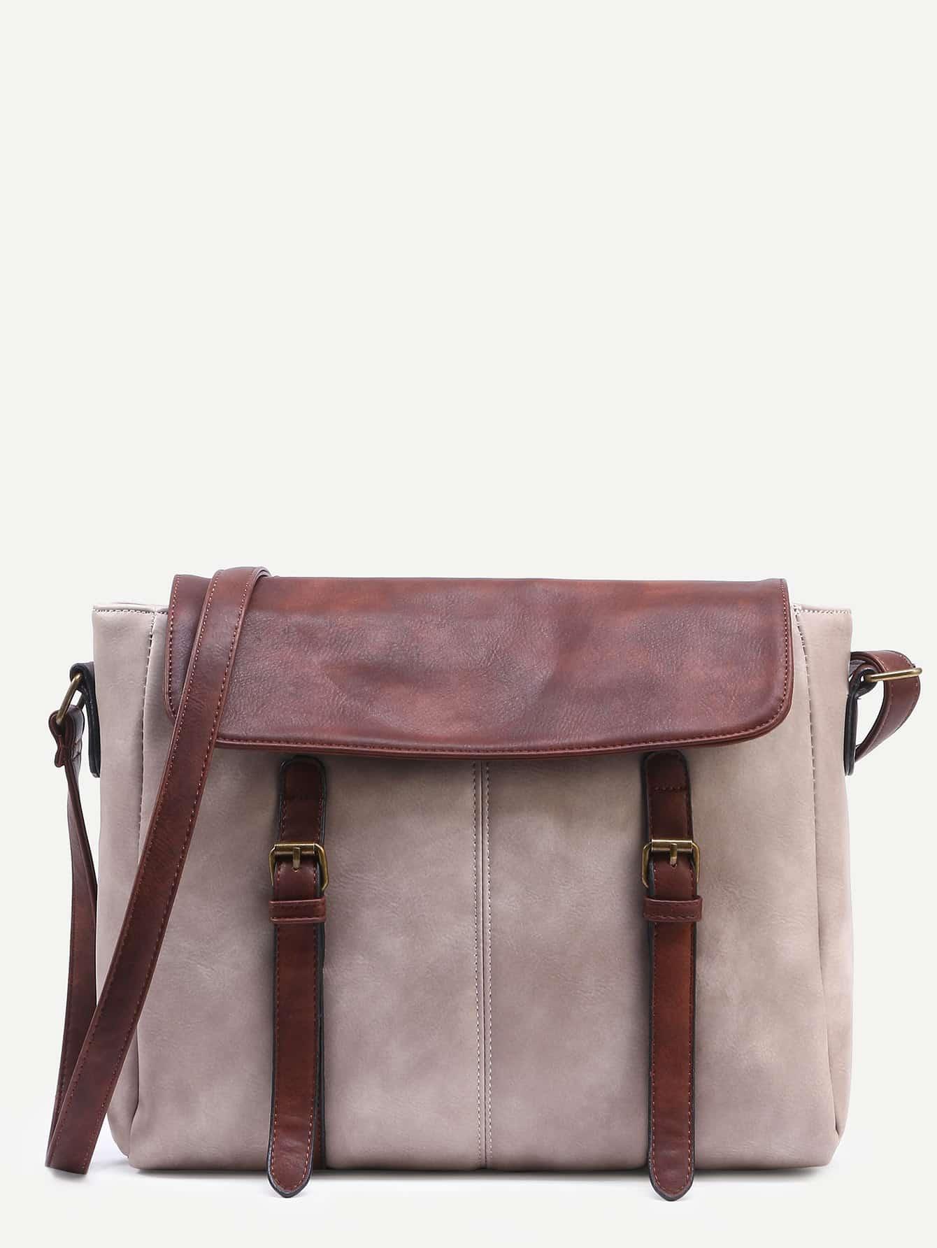 Grey Contrast Flap Dual Buckled Strap Messenger Bag