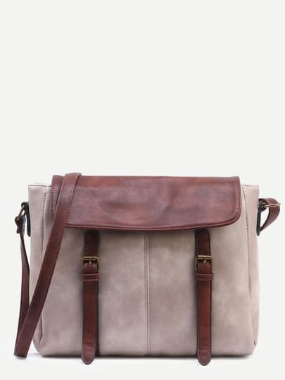 Grey Contrast Flap Dual Buckled Strap Messenger Bag