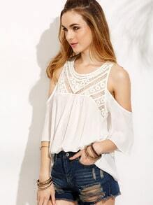 White Crochet Insert Open Shoulder Blouse