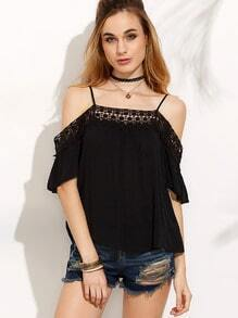 Black Crochet Insert Cold Shoulder Top