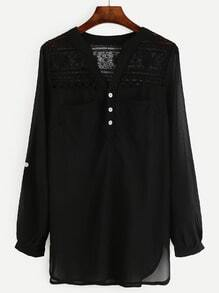 Black Crochet Panel Half Placket Blouse With Pockets