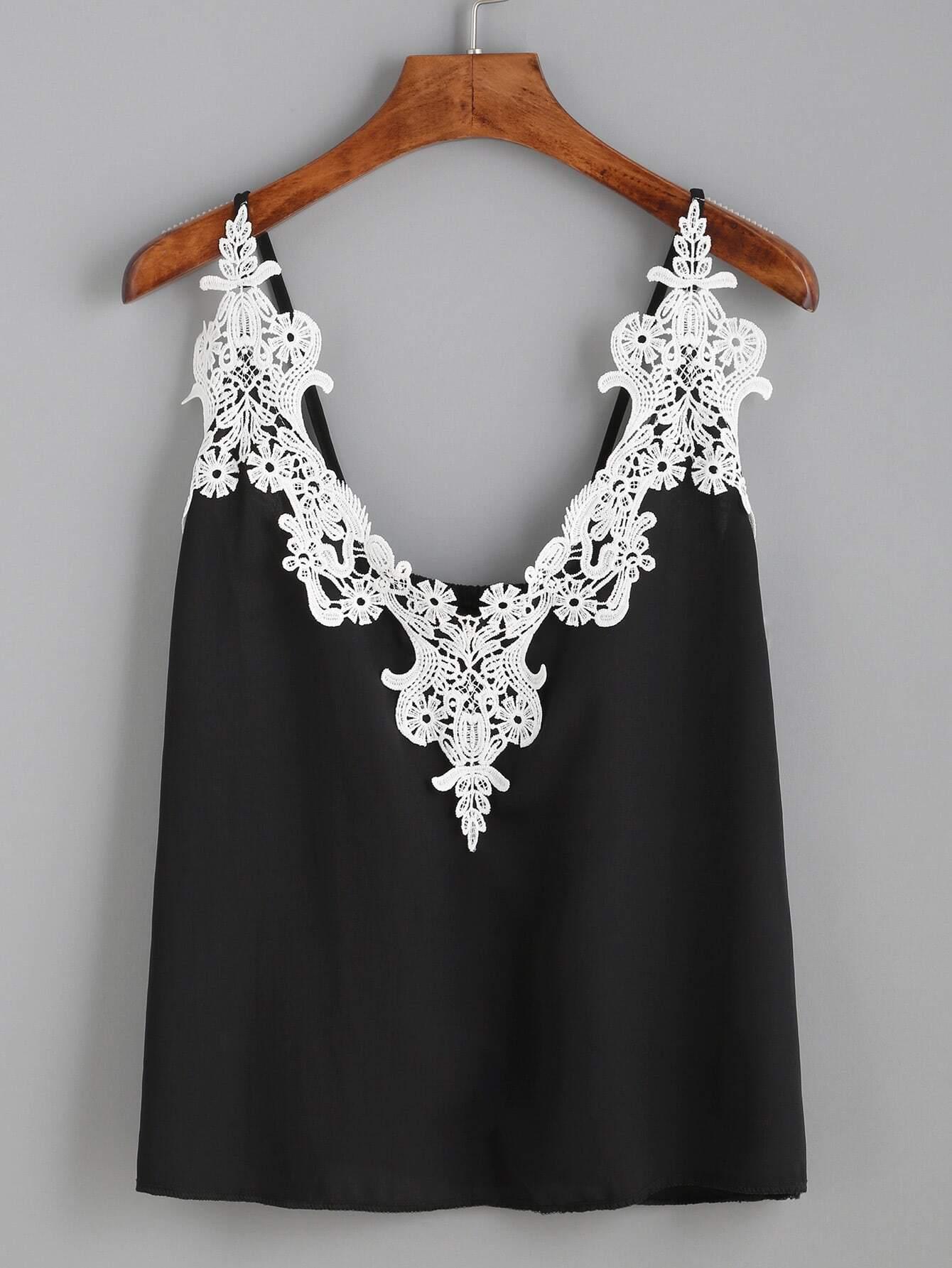 Фото Embroidered Lace Applique Cami Top. Купить с доставкой