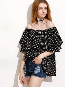 Black Polka Dot Ruffle Off The Shoulder Blouse