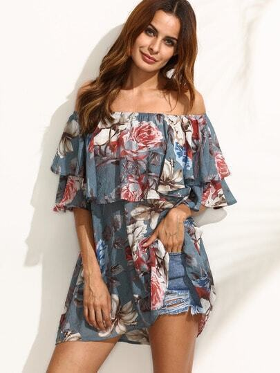 Multicolor Floral Ruffle Off The Shoulder Blouse