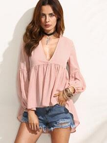 Pink V Neck High Low Blouse