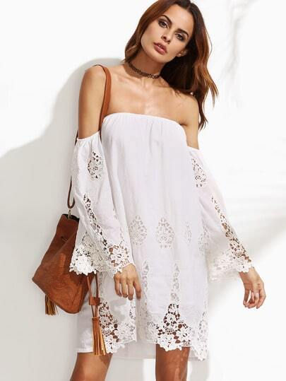 Bardot Crochet Lace Beach Dress