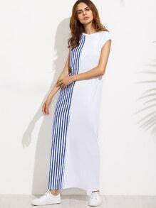 Striped Cap Sleeve Maxi Tee Dress