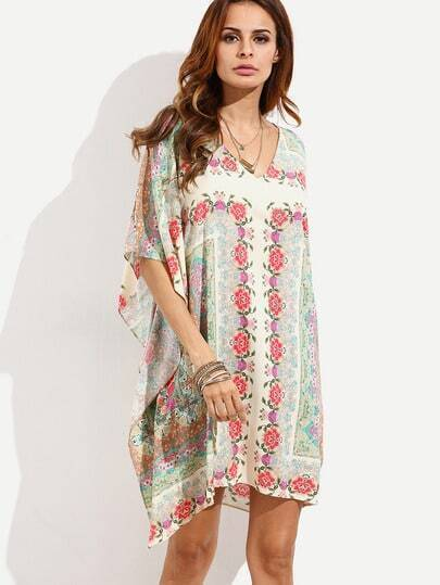 Multicolor Print V Neck Asymmetrical Dress