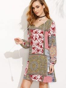 Tribal Print Tassel Long Sleeve Shift Dress