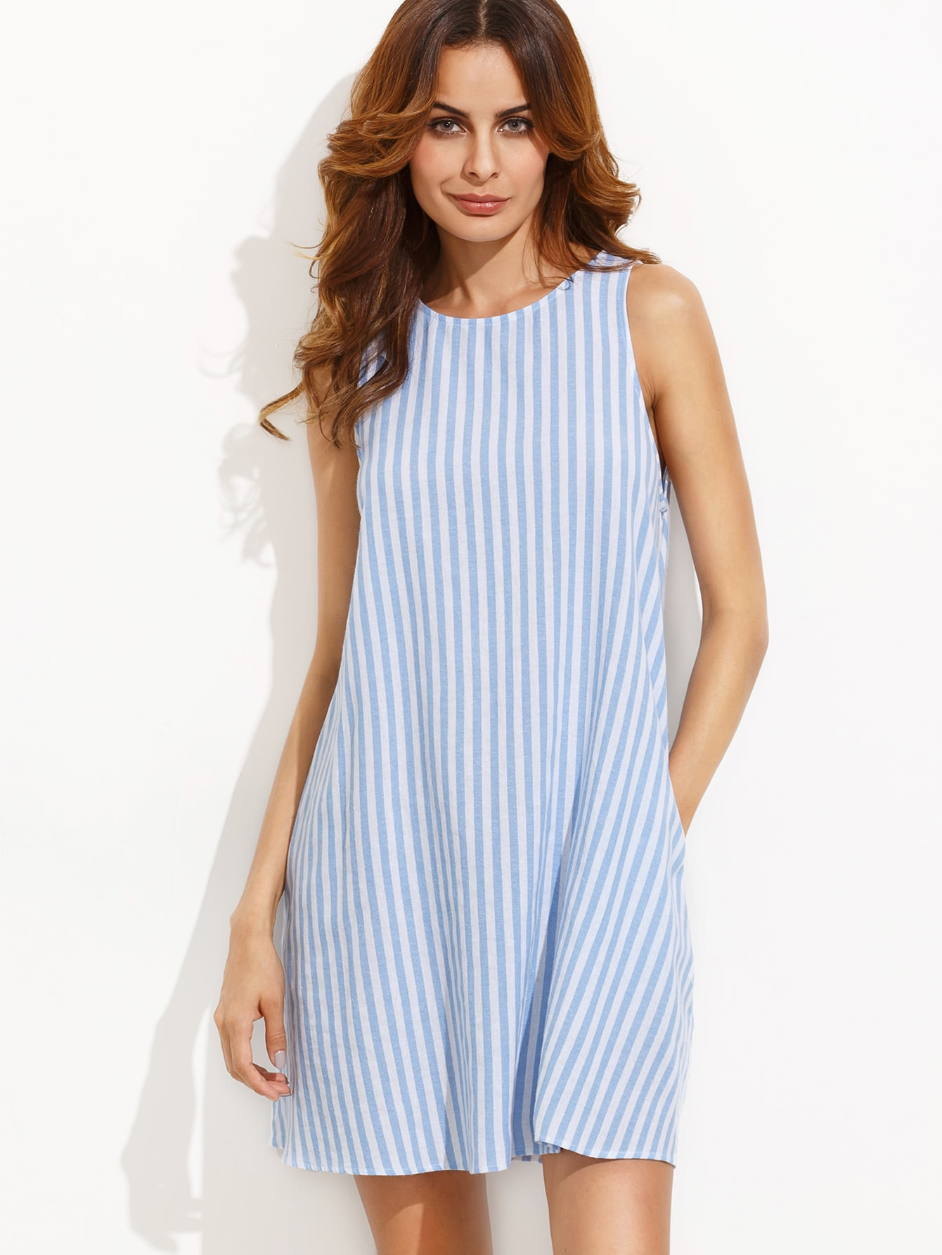 Фото Stripe Button Keyhole Back Swing Dress. Купить с доставкой