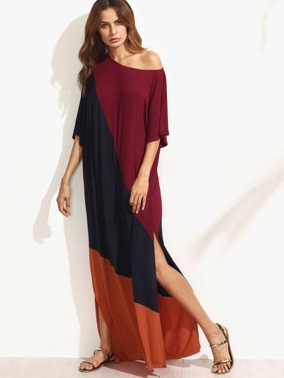 Color Block Split Side Maxi Dress