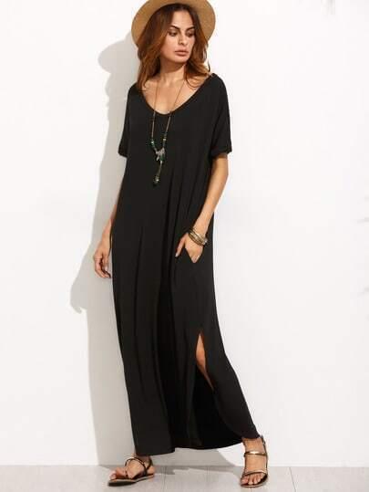 Black V Neck Cut Out Back Long Dress