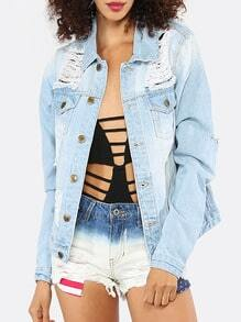 Light Blue Ripped Long Sleeve Denim Jacket