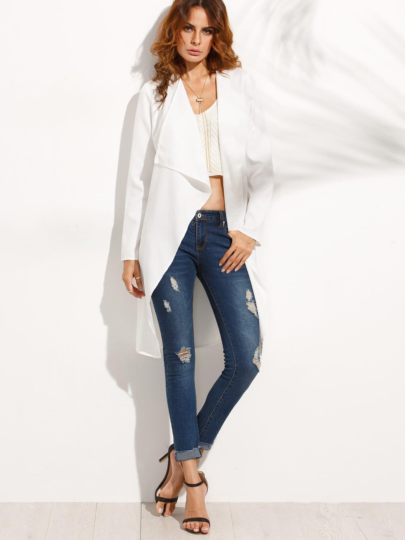 manteau long col revers avec poches blanc french. Black Bedroom Furniture Sets. Home Design Ideas