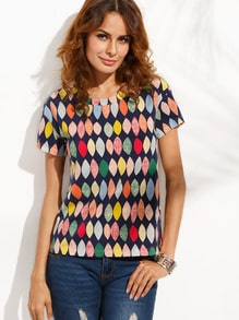 T-shirt imprimé col rond manche courte - multicolore