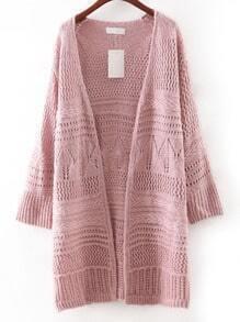 Pink Hollow Plain Long Cardigan