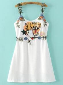 White Spaghetti Strap Tiger Embroidery Dress