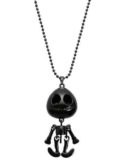 Black Movable Skeleton Doll Pendant Necklace