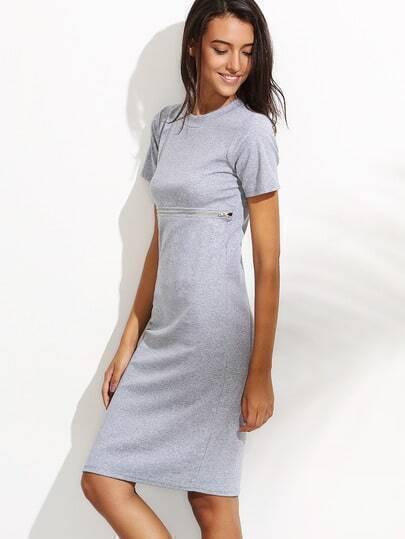 Grey Zipper Front Tee Dress