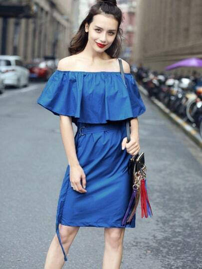 Blue Off The Shoulder Ruffle Split Back Dress
