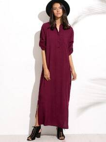 Burgandy Split Side Shirt Dress