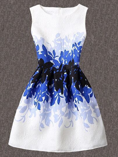 Leaves Print Jacquard A-Line Dress