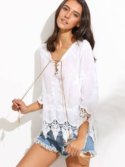 White Lace Up Embroidered Blouse