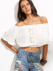 White Off The Shoulder Crochet Ruffle Crop Top