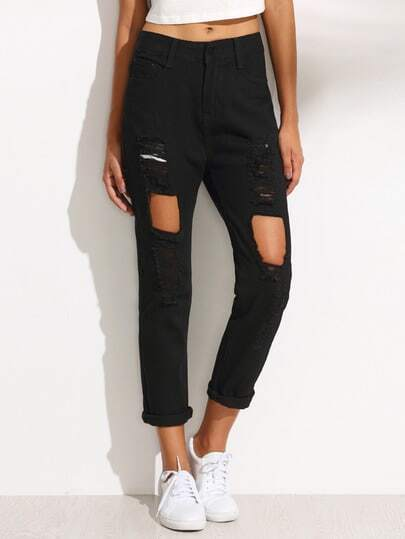 Cut Out Ripped Cuffed Jeans