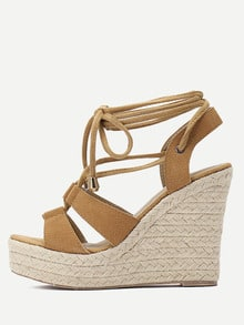 Brown Peep Toe Lace-up Espadrille Wedges