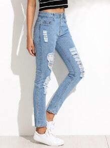 Pantalones rotos hilos denim - azul claro