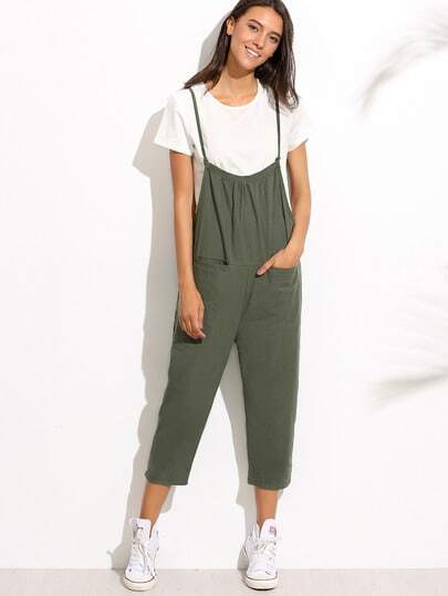 Spaghetti Strap Pockets Overall Pants