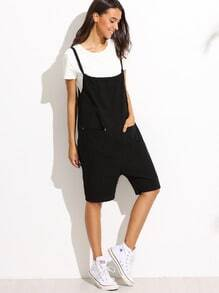 Black Pocket Overall Shorts