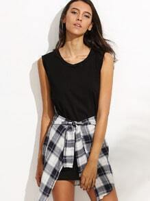 Black Tank Dress With Contrast Detachable Plaid Panel