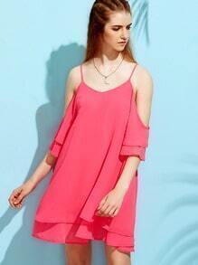 Hot Pink Cold Shoulder Tiered Dress