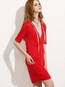 Red Deep V Neck Hooded Dress